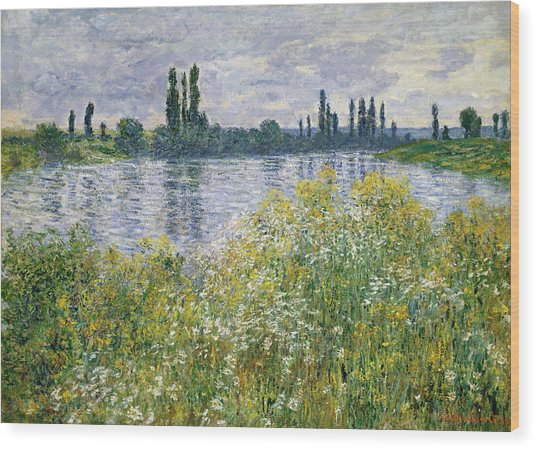 Banks Of The Seine, Vetheuil Wood Print