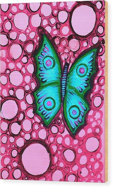 Blue Butterfly Wood Print by Brenda Higginson