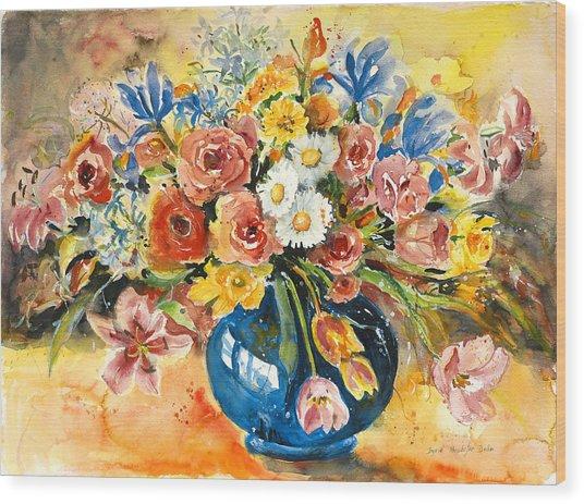 Blue Vase Wood Print by Alexandra Maria Ethlyn Cheshire