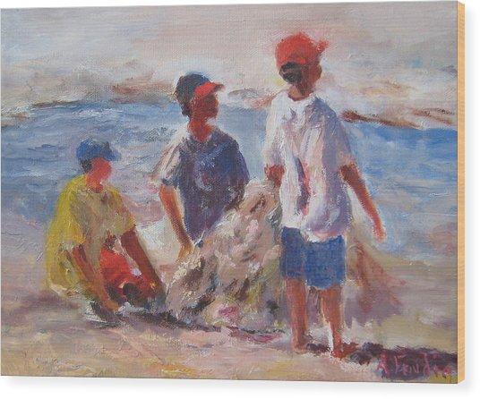 3 Boys And A Beach Wood Print by Albert Fendig