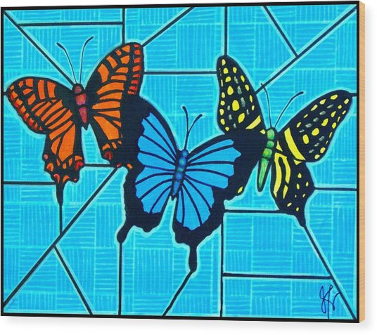 3  Butterflies On Blue Wood Print