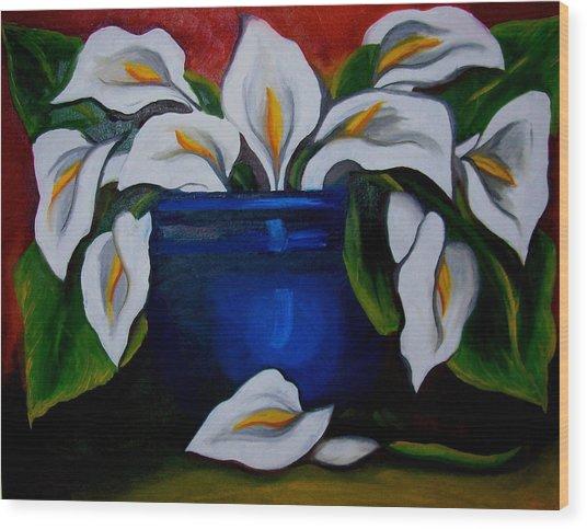 Calla Lilies Wood Print by Misty VanPool