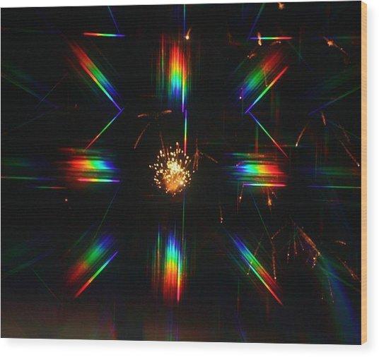 3-d Fireworks Wood Print by JoAnn Tavani