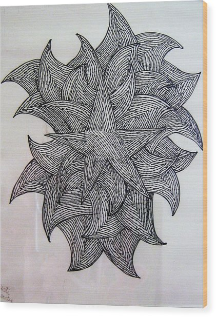 3 D Sketch Wood Print