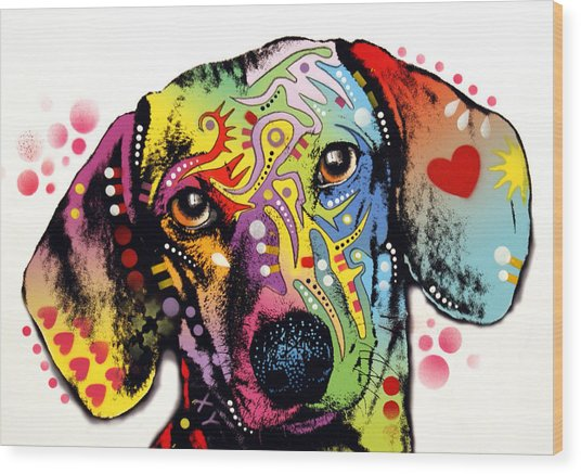 Tilt Dachshund Red Bubble Wood Print