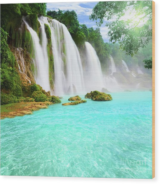 Detian Waterfall Wood Print