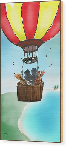 3 Dogs Singing In A Hot Air Balloon Wood Print