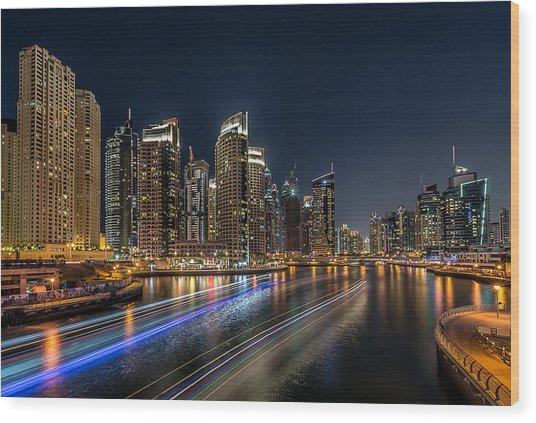 Dubai Marina Wood Print by Vinaya Mohan