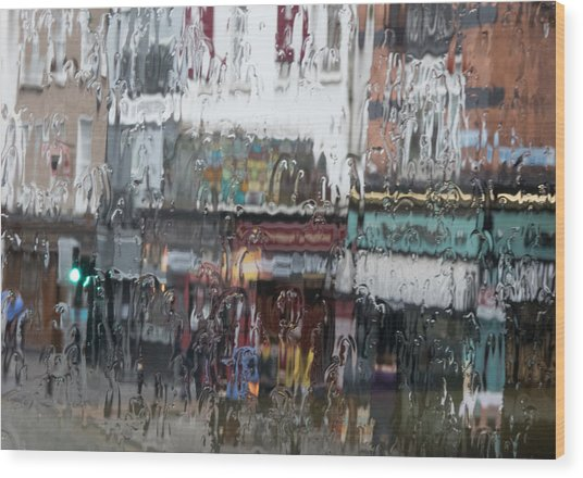 Dublin In The Rain. Wood Print