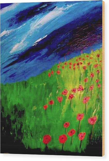 field of Poppies Wood Print by Misty VanPool