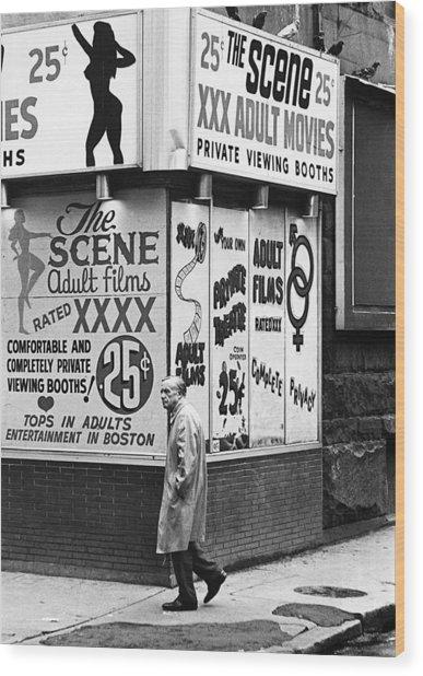 Film Homage Hard Core 1979 Porn Theater The Combat Zone Boston Massachusetts 1977 Wood Print