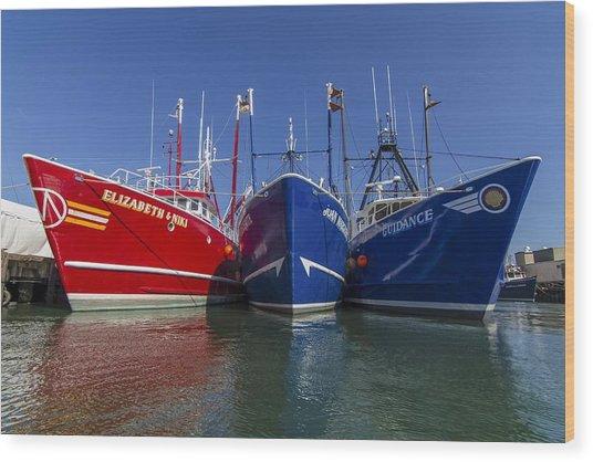 3 Fishing Boats Wood Print