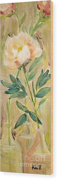 Wood Print featuring the painting 3 Flowers by Maria Langgle