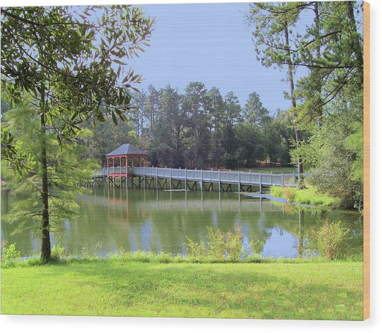 Gazebo On The Lake Wood Print