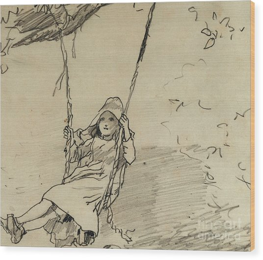 Girl On A Swing Wood Print
