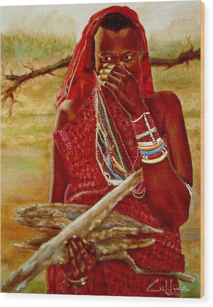 Girl With Sticks Wood Print