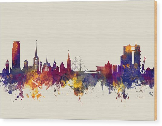 Halmstad Sweden Skyline Wood Print