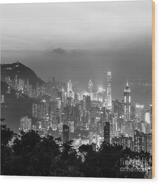 Hong Kong Skyline Wood Print