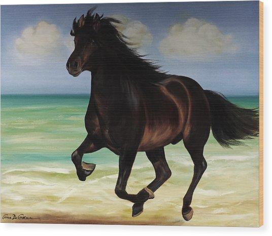 Horses In Paradise  Run Wood Print