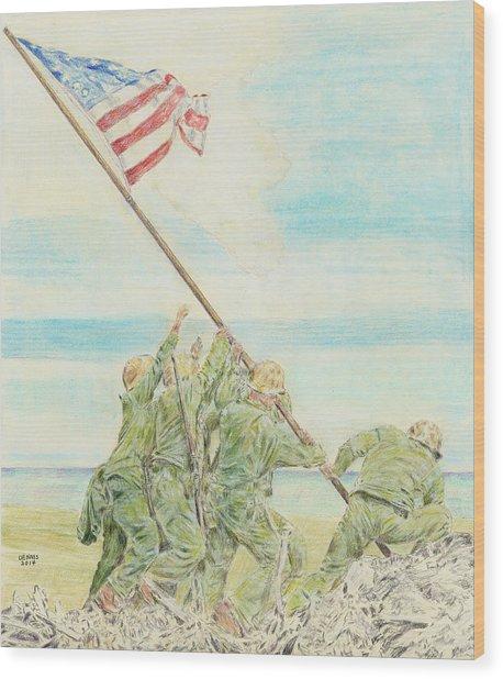 Iwo Jima Wood Print by Dennis Larson