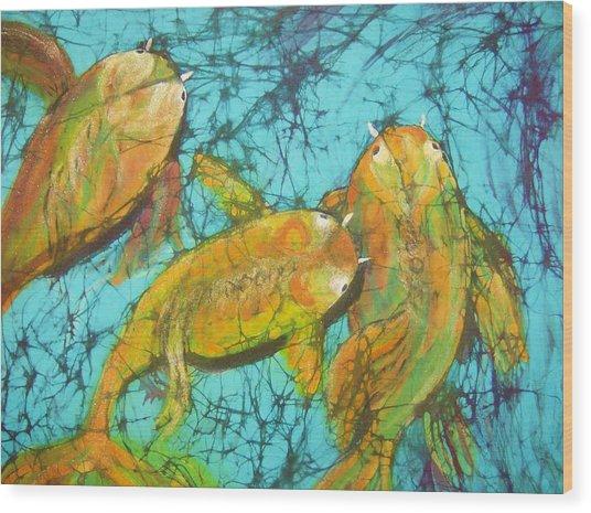 3 Koi Wood Print