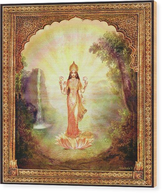 Lakshmi With The Waterfall Wood Print