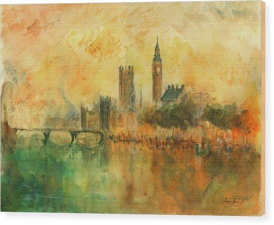 London Watercolor Painting Wood Print