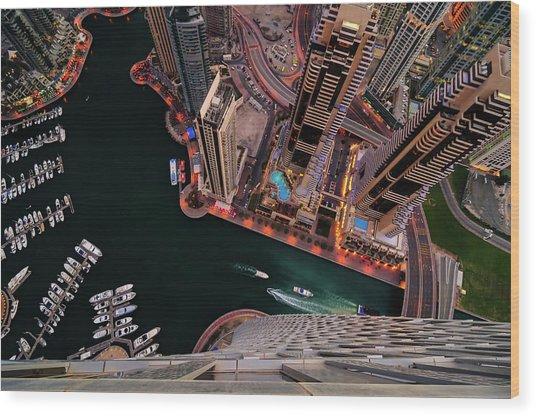 Majestic Colorful Dubai Marina Skyline During Night. Dubai Marina, United Arab Emirates. Wood Print
