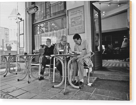 3 Men Brussels 2009 Wood Print by Mark Chevalier
