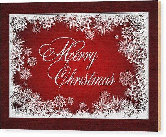Merry Christmas Card Wood Print