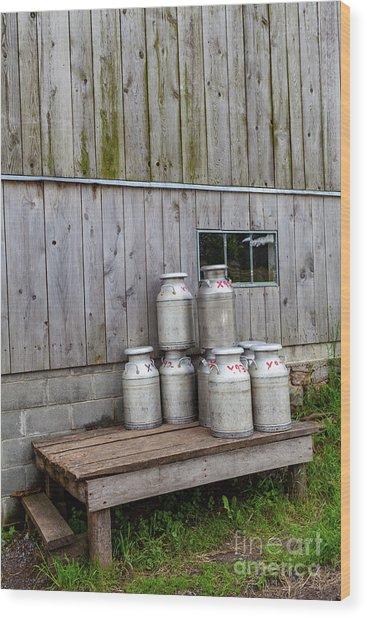Milk Cans Wood Print