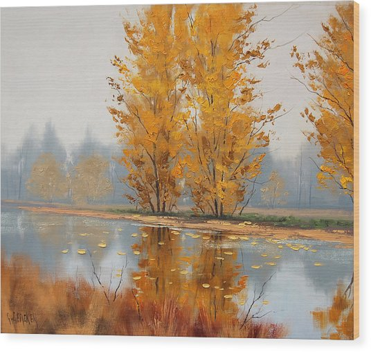 Misty Lake Wood Print