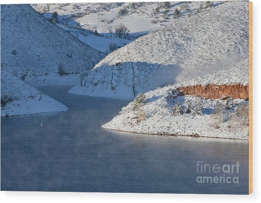 Mountain Lake In Winter Wood Print
