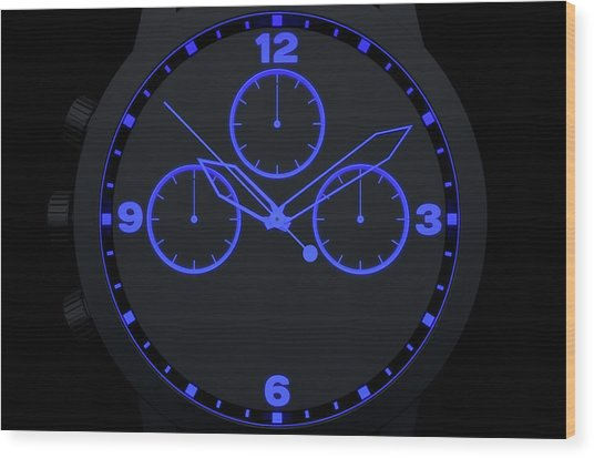 Neon Watch Face Wood Print