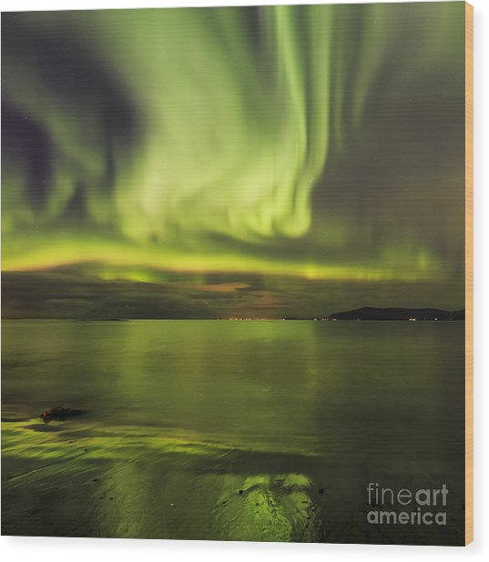 Northern Lights Reykjavik Wood Print
