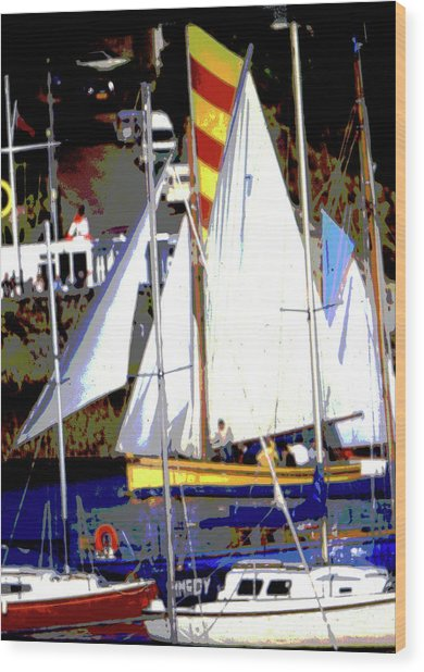Oyster Boats Wood Print