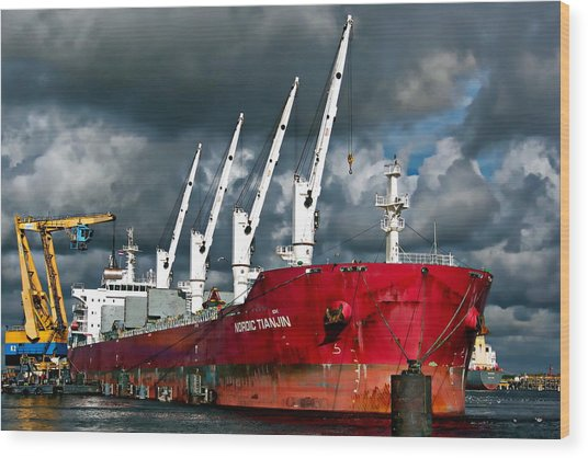 Port Of Amsterdam Wood Print