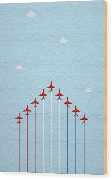 Raf Red Arrows In Formation Wood Print