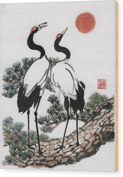 Red Crowned Crane Wood Print