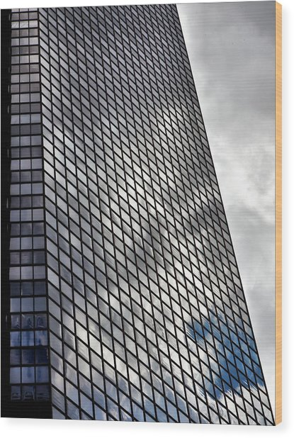 Reflective Glass And Metal Building Wood Print by Robert Ullmann