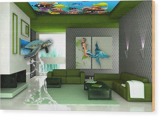 Rooftop Saltwater Fish Tank Art Wood Print