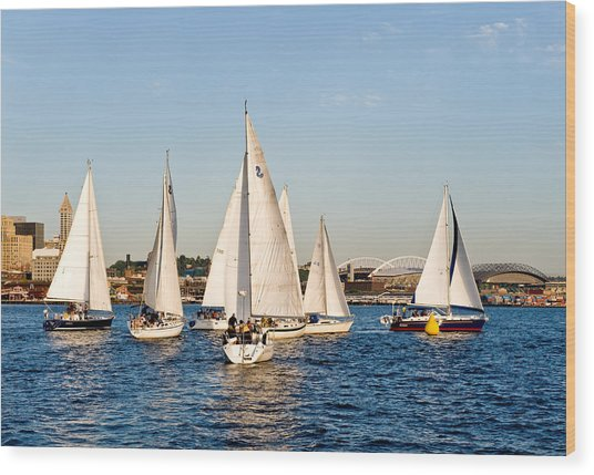 Sailboat Race Wood Print by Tom Dowd