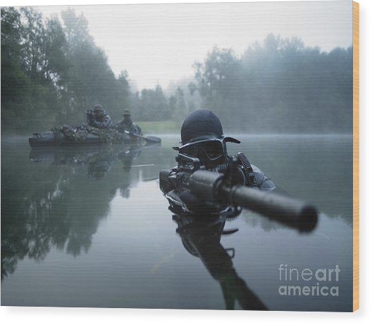 Special Operations Forces Combat Diver Wood Print