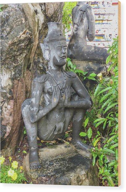 Statue Depicting A Thai Yoga Pose At Wat Pho Temple Wood Print