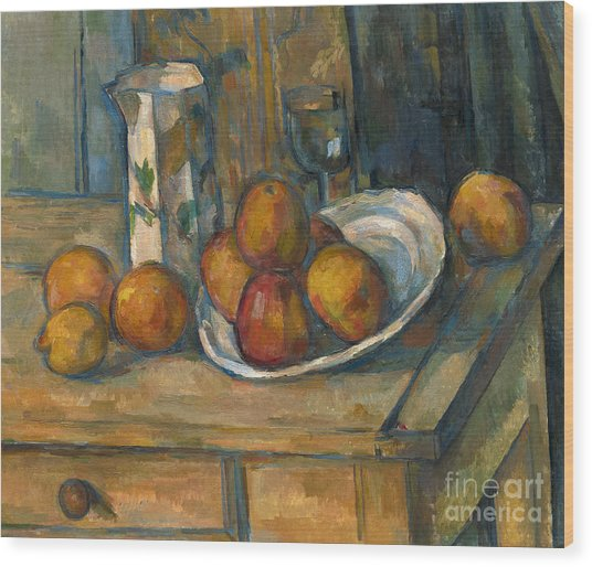 Still Life With Milk Jug And Fruit Wood Print