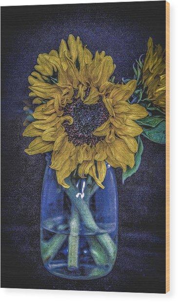 Sunflower Wood Print by Angela Aird
