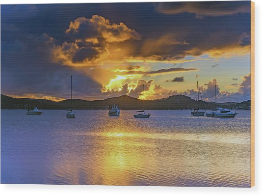 Sunrise Waterscape With Clouds And Boats Wood Print