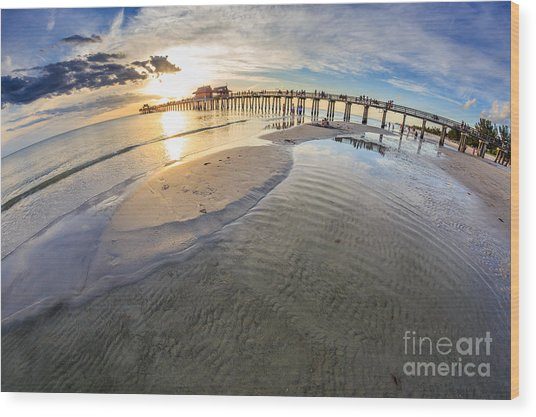 Sunset Naples Pier Florida Wood Print