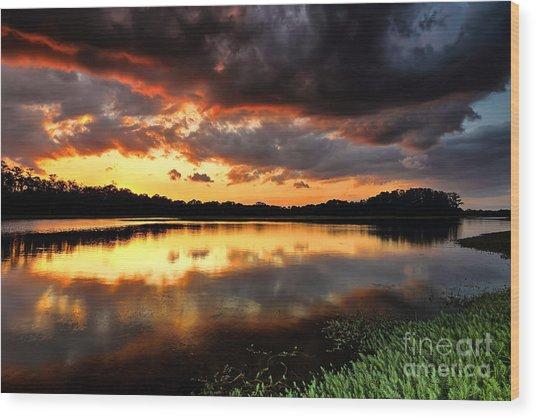 Sunset Reflections Wood Print by Rick Mann