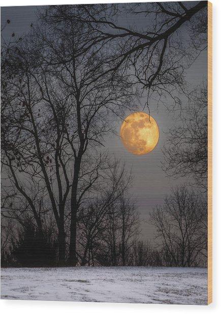 Super Blue Moon Rising Wood Print